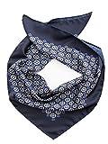 Elizabetta Men's Italian Silk Neckerchief, Large Bandana, Blue Geometric