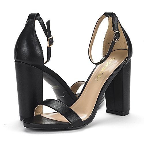 Sandals Strap Heel PAIRS Women's New Stiletto Dress Chunk Open Wedding Black DREAM High Toe Chunky Evening Pumps HI Ankle Pu fzwxxT