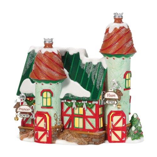 Department 56 North Pole Village Reindeer Stables Prancer and Vixen Lit House