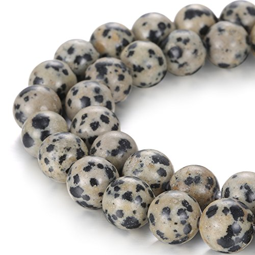 - BRCbeads Natural 2.0mm Large Hole Dalmatian Jasper Gemstone Loose Beads Smooth Round 10mm Crystal Energy Stone Healing Power for Jewelry Making