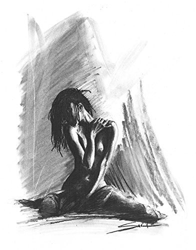charcoal drawing woman Nude