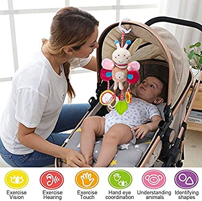Sealive Soft Rattles Hanging Plush Activity Crib Car Seat Toys for Babies Boy Girl 6 9 4 Piece Baby Stroller Toy Sensory Musical Toys for 0 3 12 Months