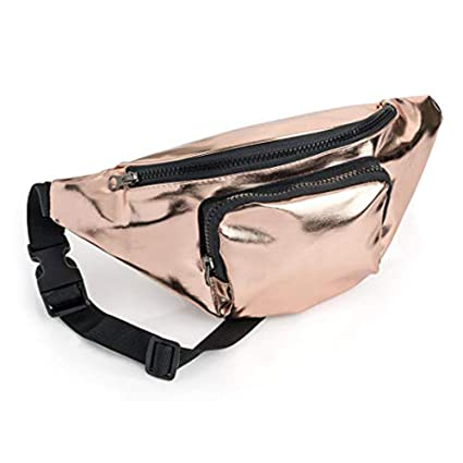 3f1ebbe891c5 Rose Gold Coloured Metallic Finish Fabric Bum Bag/ Fanny Pack - Festivals/  Hols: Amazon.co.uk: Luggage