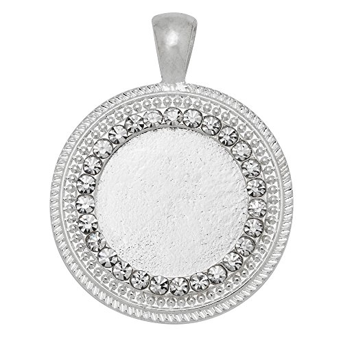 20mm Round Pendant (10PCS Zinc Alloy Cameo Cabochon Base Setting Pendants with Rhinestones,fit 20mm round cabochons, silver)