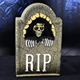 Tombstone Props For Halloween - Voice and Touch Control Horror Simulation Electric Skull Tombstone Props for Bars Haunted Houses Horror Scenes Party Layout ( Fake Tombstones For Halloween )