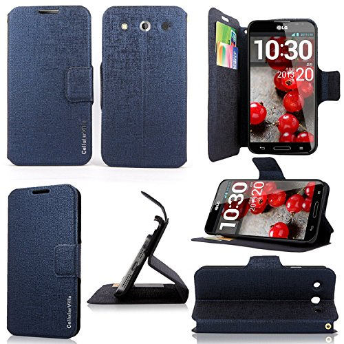 Cellularvilla® Wallet Case for Lg Optimus G Pro F240 Pu Leather Wallet Card Flip Open Case Cover Pouch. (Midnight Blue)
