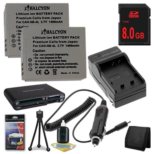 TWO NB4L Lithium Ion Replacement Battery w/Charger + 8GB SDHC Memory Card + Memory Card Reader/Wallet + Deluxe Starter Kit for Canon PowerShot Elph 100 HS 300 HS, SD1000 IS, SD1400 IS, SD200, SD300, SD40, SD400, SD430, SD450, SD600, SD630, SD750, SD780 IS