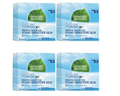 Seventh Generation Natural Powder Laundry Detergent, Free & Clear, 70 Loads, 112 oz Box (4 Boxes)