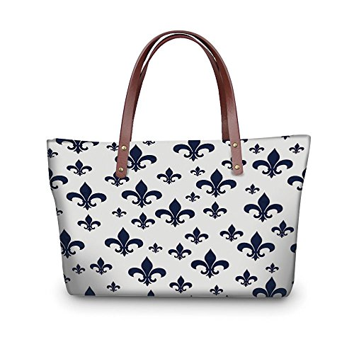 Fleur De Lis Classic Wallet - iPrint Design the fashion for you Waterproof Women Casual Handbag Tote Bags,Navy Blue Decor,Various Sized Classic Fleur de Lis Patterns Royal Retro Style Antique Decor Living,Gray Dark Blue.