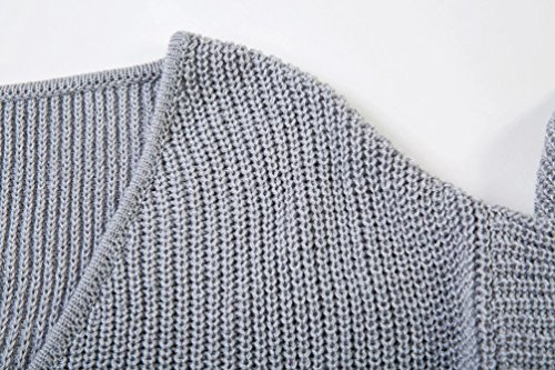 YAANCUN Mujer Irregular V-cuello Profundo Suéter Invierno Suelto Elegante Mangas Largas Oficina Gris