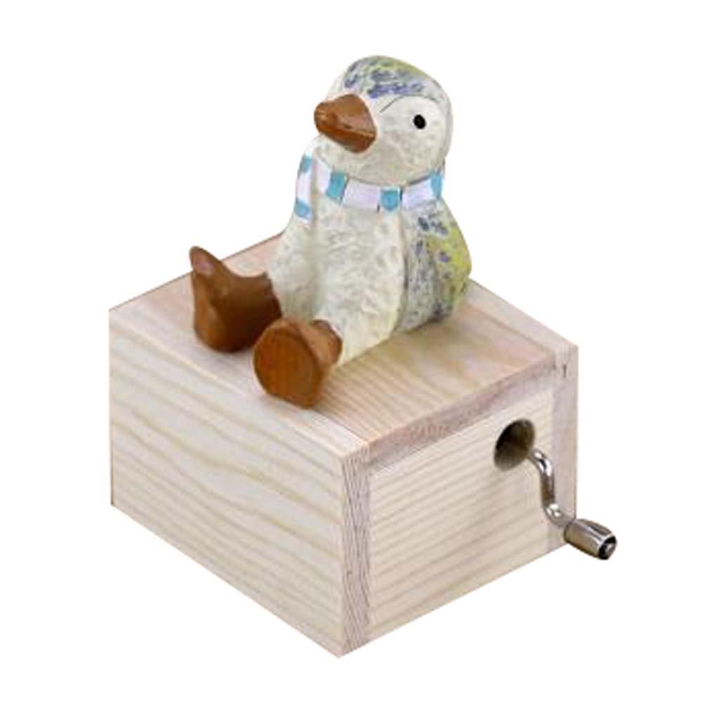 Adorable Wooden Little Penguin Music Decoration Clockwork Music Boxes
