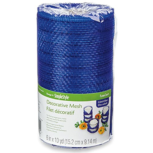 FloraCraft, Decorative Mesh, 6-Inch by 10-Yard Length, Cobalt Blue with Mettalic ()
