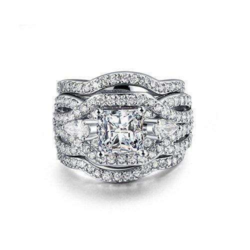 Zealmer Rhodium Plated Princess Cut Synthetic Diamond Halo Cubic Zirconia CZ Infinity Wedding Bridal Ring Set 7