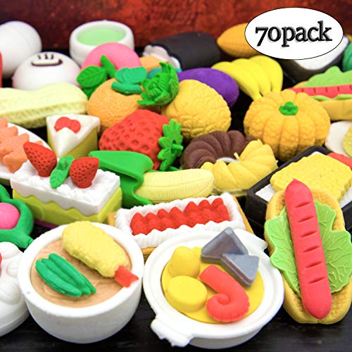 LanMa 70PCS Food Erasers for Kids Fruit Desserts Cake Puzzle Cute Erasers Set for School Classroom Prizes Party -