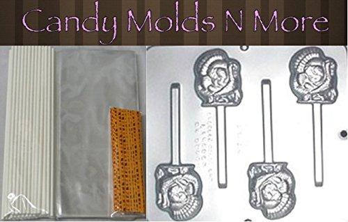 Thanksgiving Turkey Lollipop Chocolate Making 25 piece Kit with Plastic Mold, Autumn Leaves Twist Ties, Lollipop Sticks, & Bags 1019 ()