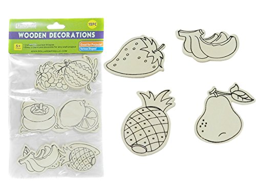 DECORATIONS 12PC WOODEN 3MM , Case of 96