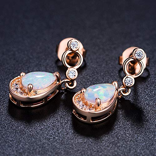 Fashion Earrings, gLoaSublim Fashion Women Waterdrop Faux Opal Pendant Rhinestone Dangle Earrings Jewelry - Rose Gold