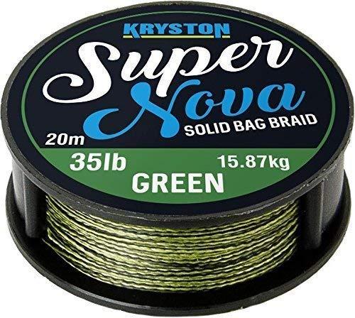 Kryston Super Nova Mauvaise Herbe Vert 20m 15lb//25lb//35lb Solide Sac Supple Tresse Fil Bas de Ligne