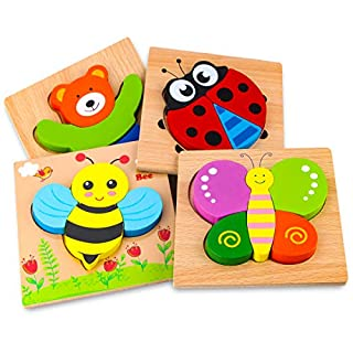 SKYFIELD Wooden Animal Puzzles for Toddlers 1 2 3 Years Old, Boys & Girls Educational Toys Gift with 4 Animals Patterns, Bright Vibrant Color Shapes, Customized Gift Box Ready