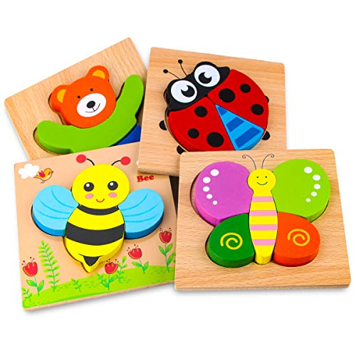 SKYFIELD Wooden Animal Jigsaw Puzzles for Toddlers 1 2 3 Years Old, Boys &Girls Educational Toys Gift with 4 Animals Patterns, Bright Vibrant Color Shapes (Animal)]()