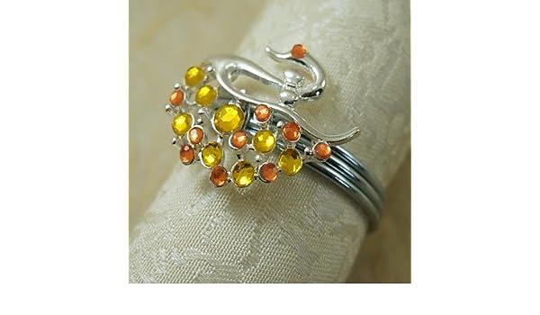CH y CH Rround cisne servilleteros anillo en Navidad cristal multicolores, aleación, 4,5 cm, 12 jadella, morado: Amazon.es: Jardín