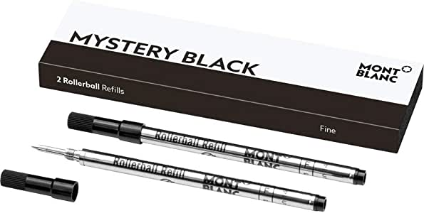 Montblanc Rollerball Refills (F) Mystery Black 105162 – Quick-Drying Pen Refills for Montblanc Rollerball and Fineliner Pens – 2 x Black Pen Cartridges