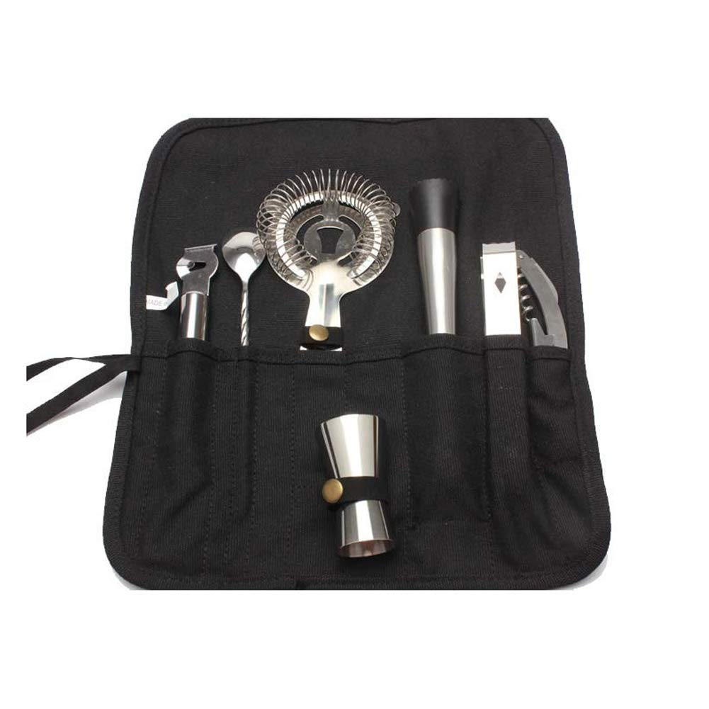 HNYG Cocktail Bar Tool Set 7 Sets Stainless Steel Tools Travel Bag Kits Universal Tools for Bartender B771