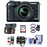Canon EOS M6 Mirrorless Digital Camera Black Kit with EF-M 18-150mm f/3.5-6.3 IS STM Lens - Bundle With Holster Case, 16GB SDHC Card, Memory Wallet, Cleaning Kit, 55mm Filter Kit, Software Package