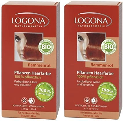 Logona Henna Tinte para cabello Tintura de pelo vegetal llama roja en paquete doble 2 x 100 g