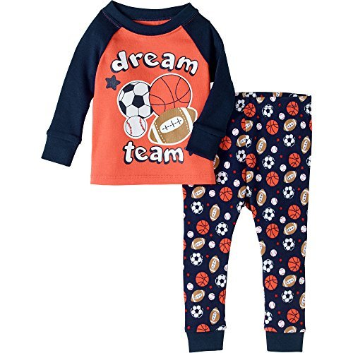 Baby and Toddler Boys Snug Fit Graphic Pajama Long Sleeve Shirt and Pants Two-Piece Set (18 Months, Dream Team)