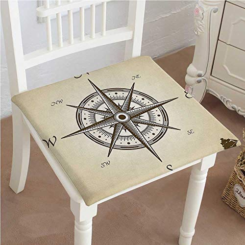 Mikihome Chair Seat Pads Cushions Compass Illustration Navigating Marine Instrument Antique Artwork Print Beige Square Car and Chair Cushion/Pad with Ties, Soft, for Indoors Or Outdoor 28