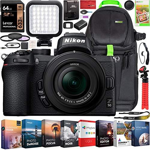 Nikon Z50 Mirrorless Camera Body 4K UHD DX-Format NIKKOR Z DX 16-50mm F3.5-6.3 VR Lens Bundle w/Deco Gear Photography Backpack + Photo Video LED + Filter Kit + Tripod + 64GB + Software & Accessories