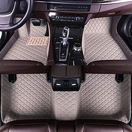 Muchkey car Floor Mats fit for Chrysler Sebring 2001-2010 Full Coverage All Weather Protection Non-Slip Leather Floor Liners Black-Beige