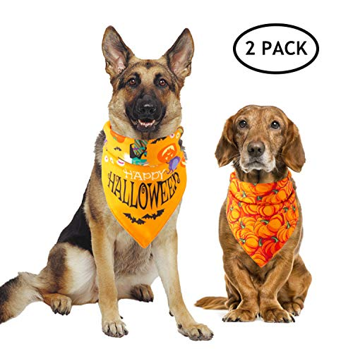 Halloween Costume Ideas With Bandanas (BWOGUE 2 Pack Halloween Dog Bandanas Pet Pumpkin Happy Halloween Pattern Triangle Bibs Scarf Accessories for Dogs Cats Halloween)