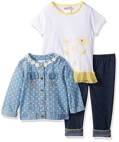 Little Lass Baby Girls' Little' 3 Pc Polka Dot Denim Jacket Set, Yellow, 6