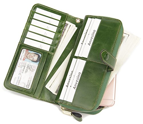 51XoAAhYdVL - Anvesino Women's RFID Blocking Real Leather Wallet Ladies Zipper Wristlet Clutch Green