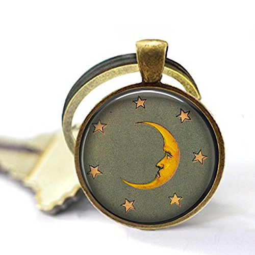 Crescent Moon and Stars - Old Fashioned Moon Jewelry - Moon and Stars Keychain - Vintage Moon - Man in The Moon - Sun and Moon Gift ()