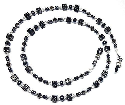 Silver Night Austrian Crystal Black Dice Eyeglass Chain Holder