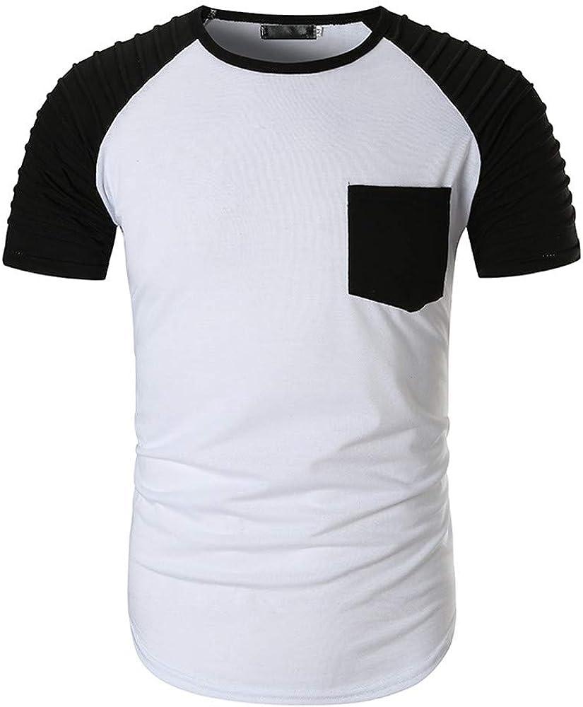JiaMeng Camiseta Manga Corta Hombre Camisa de Manga Corta de la Solapa de la Manera del patrón de Empalme de la Letra con Bolsillo Running/Gym/Deporte: Amazon.es: Ropa y accesorios