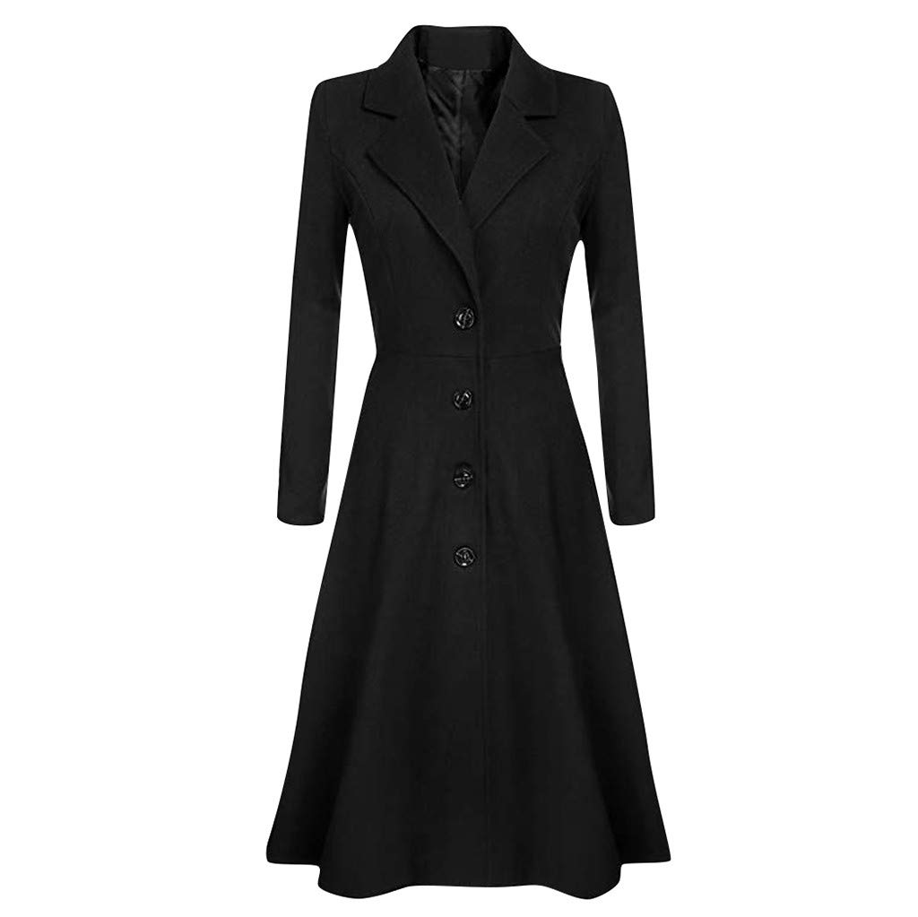 Wenini Womens Winter Trench Coat Lapel Wrap Swing Button Long Trench Coat Jacket Ladies Overcoat Jacket Outwear by Wenini Women Coat