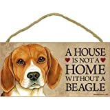 "A house is not a home without Beagle Dog - 5"" x 10"" Door Sign"