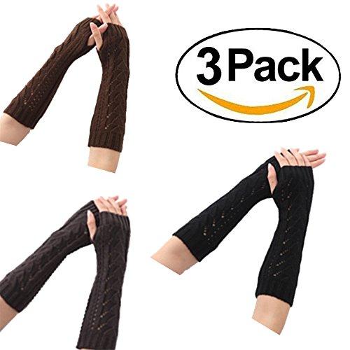 Women's Crochet Long Fingerless Gloves with Thumb Hole