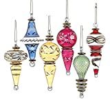 "Kurt Adler 4.5"" Luxor Blown Glass Drop Ornament Set of 6"