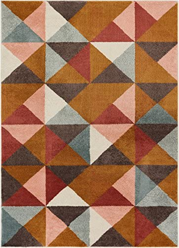 Well Woven Delancey Geometric Multi Red Area Rug 3×5 3 3 x 4 7 Soft Plush Modern Abstract Triangle Boxes Carpet