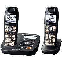 Teléfono inalámbrico Panasonic KX-TG6592T de 2 auriculares, negro titanio