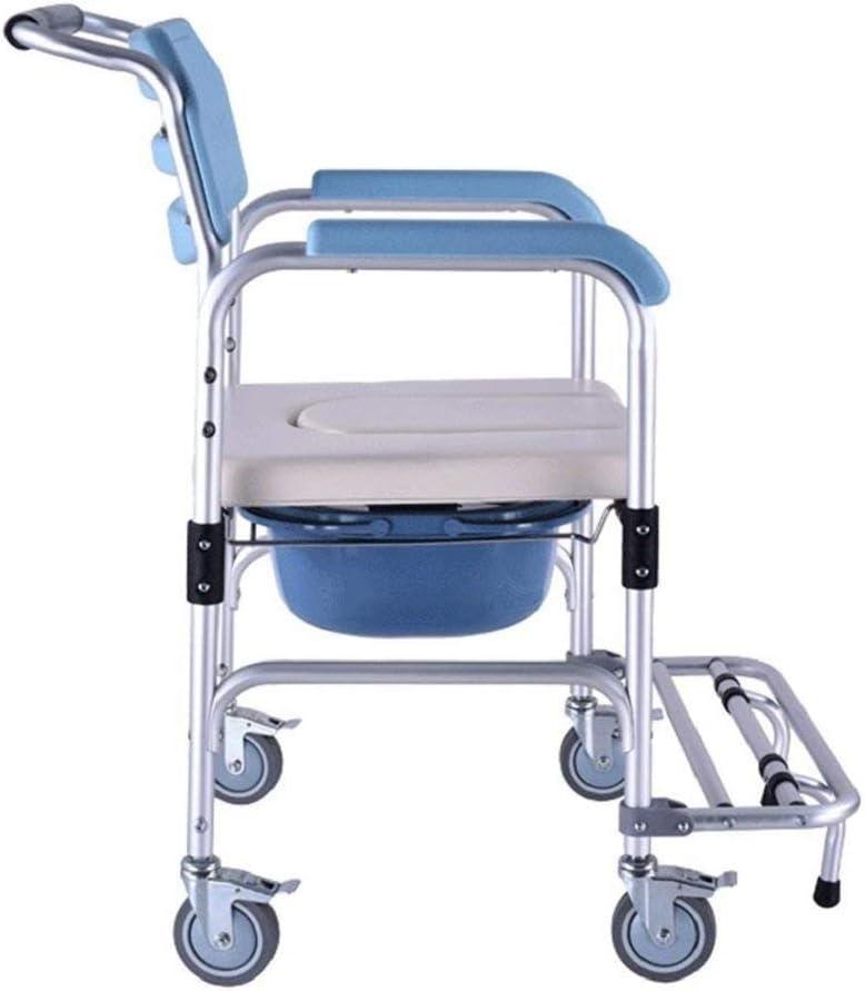 LFNIU Silla de Ducha Plegable Cómoda móvil de Altura Fija portátil y Silla para Inodoro, con Ruedas y Frenos Healthcare