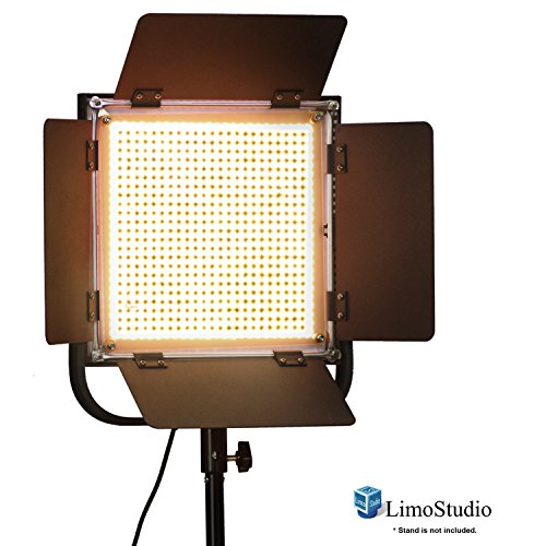 LimoStudio LED 600 Photographic Lighting Panel with Digital Display Screen, Photo Studio Barndoor Light, Continuous Video Light, Brightness Control Available with Cleaning Cloth, AGG2383 by LimoStudio