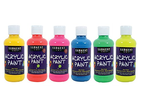Sargent Art 22-2206 Neon Acrylic Paint, Multicolored