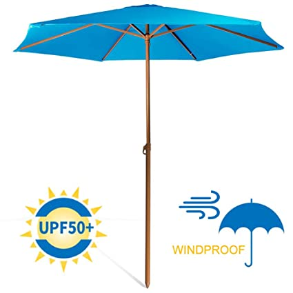76e554cd8f09 690GRAND Sturdy 8ft Shade Vented Patio Umbrella Aluminum Poles with  Polyester Canopy Portable for Beach Outdoor UV Protection UPF 50+