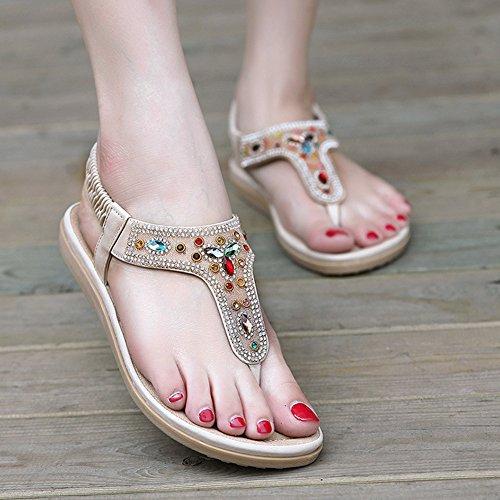 De Playa Dulce De Albaricoque La De Abalorios Bohemia Sandalias Mujer Zapatos Clip De Toe wITqt5f